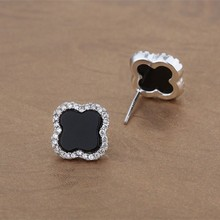 Classic black agate diamond luck Four Leaf Clover 925 silver beautiful earring designs for women