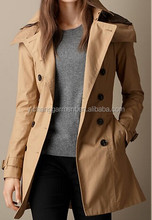 spring season long design hooded womens trench coat with belt