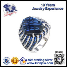 Fashion jewelry silver blue multi-color cz rings