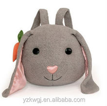 "12""*12"" Animal Bunny Backpack made by 100% Cotton/Plush Animated Animal Rabbit Backpack/Lovely Plush Animal Toy Backpack"