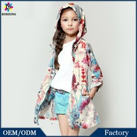 Casual Frock Design For Cutting Fancy Hooded Thin Knee Length Long Coats Posh Printed Long Sleeve Loose Girls Jacket