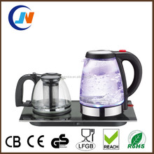 Hotel guest room glass kettle 1.8L electric tea kettle tray set