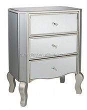 Antique silver Beside Table,/3 door mirrored chest