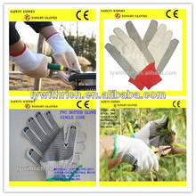 high quality grip black dot working cotton glove with pvc dots