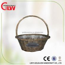 garden basket wicker garden tools basket, flower plastic basket with handle, arts and crafts