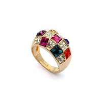 high quality 18K rose gold plated gorgeous multi-color pave cocktail ring made with Swarovski elements