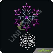 Violet and crystal snowflakes hotfix transfer rhinestones