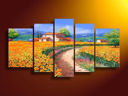 5 panel wall decor modern art set Beautiful city oil painting street scenery palette knife Mediterranean painting