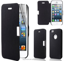 Shenzhen Topshion for iphone 4s flip leather cover case with clear screen protector, TSP4HC03