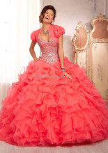 2015 New Fashion Ball Gown Sweetheart Beaded Red Blue Ivory Chiffon Princess Quinceanera Dresses With Jacket for Sweet 16 Years
