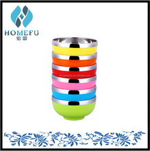 colorful #201 double Stainless Steel with PP plastic scald proof mixing bowl set