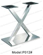 venta al por mayor de dos patas de acero inoxidable mesa de comedor de la base