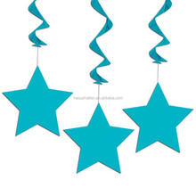 3 Caribbean Blue TEAL STAR Party Birthday Party Hanging Swirls Decorations