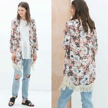 wholesale new Women's Vintage floral 3/4 sleeve printed Chiffon Boho Hippie Loose kimono style Blouse Shirt plus size SV005041