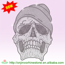 Big bow sugar skull head custom design rhinestone transfer motif SKULL (32)