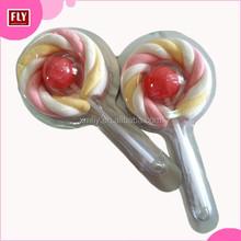 Halal cotton Candy Long Twist Shape Marshmallow with Fruit Round Lollipop