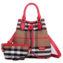 Trendy Canvas Tote Bag with Checked and Stripped Design