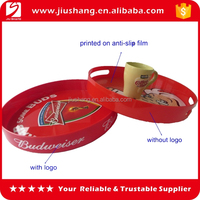 Round red plastic mirror serving trays with handles