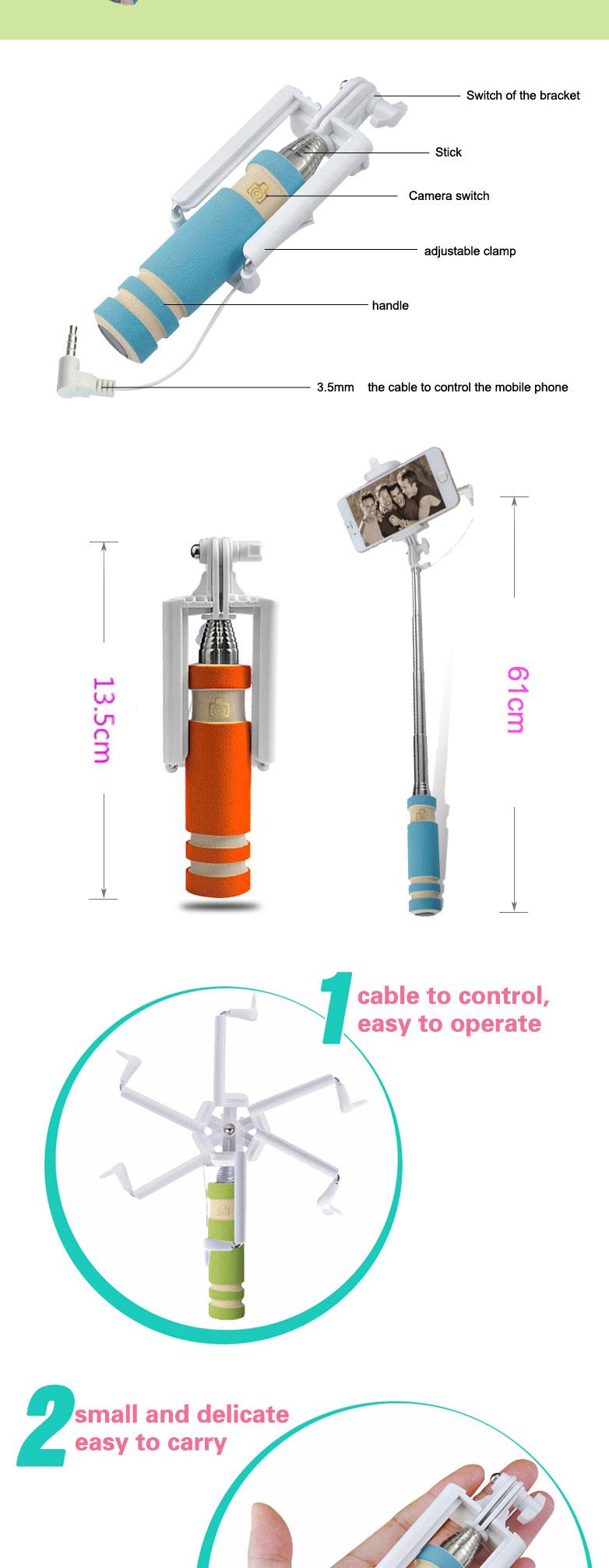 Atacado wired mini handheld monopé selfie varas com dobrável, dobrável monopé Selfie stick-com cabo