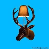 indoor resin deer head statue Wall lamp