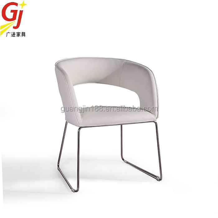 Modern stainless steel legs chair genuine white leather for Leather dining chairs with metal legs