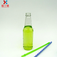 250ml round shape long neck transparent glass bottle for beverage or wine