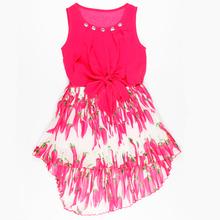 Latest Dress Designs One Piece Children Dress Flower Girls Dress with Bowknot