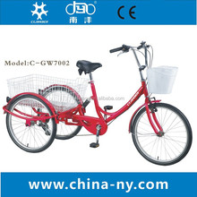 2015 hot sale adult tricycle/24 inch six speeds Tricycle 7002-6S