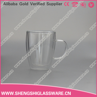 different size unbreakable glass tea cups with handle
