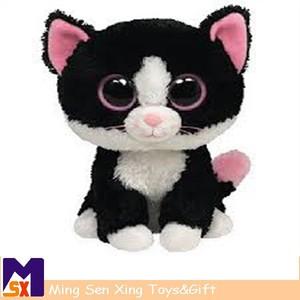 sıcak satış yumuşak doldurulmuş sevimli siyah kedi beany boo peluş oyuncak