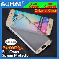 full cover orginal color gold tempered glass screen protector for s6 edge 3d samsung galaxy curved with 9 hardness