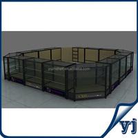 Titanium alloy glass showcase kiosk design/ jewelry kiosk showcase used in shopping malls