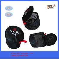 black embroider logo bra wash bag with plastic frame