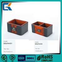 2015 new arrived designed high quality leather wooden tea box/container for sales