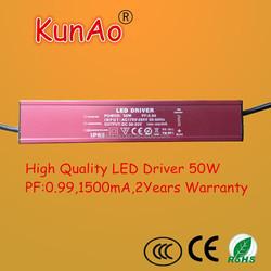 IP 67, 0.99 Power factor,1500mA LED driver 50W DC30V-DC33V,no stroboflash