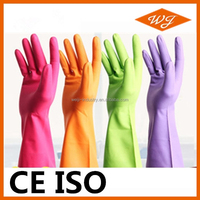 CE ISO red latex household gloves price for kitchen garden washing cleaning medical