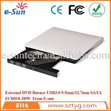 2015 nuevo 12.7 mm USB3.0 DVD Burner aerodinámico de la forma externa DVDRW Coolest lcd mini DVD combo