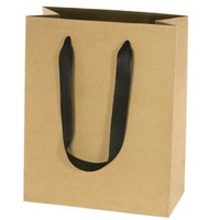 Fashion gift paper bags with satin ribbon handle
