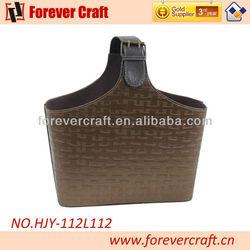 Market Shopping Tote Leather Handle Basket Storage