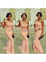 (MY2307) Marry You One-shoulder Lace Mermaid Peach Color Bridesmaid Dress