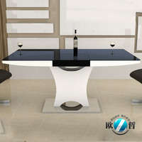 Extendable dining table set folding glass top dining table