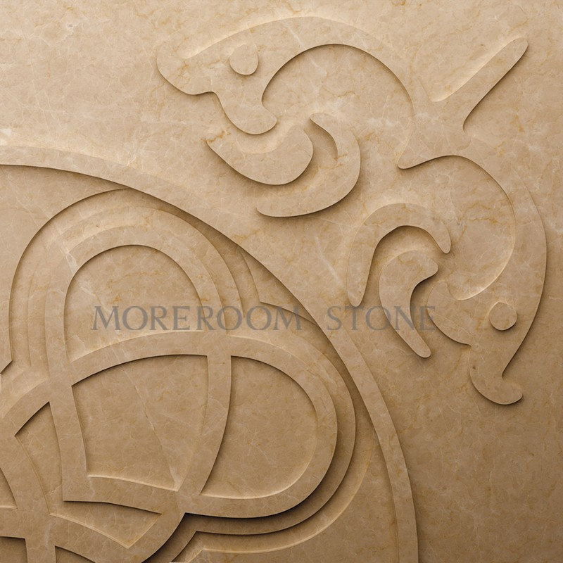 ML-A002 Moreroom Stone Chinese Factory Beige Marble Turkish Marble Wall Panel Polished Wall Stone Wall Art Panel Faux Marble Wall Panels CNC Wall  Tiles 3D Marble Panels Decorative Stone -01.jpg