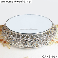 Wholesale Silver crystal wedding cake stand,bowl shaped decorative cake stand for wedding cake for wedding decoration(CAKE-014)