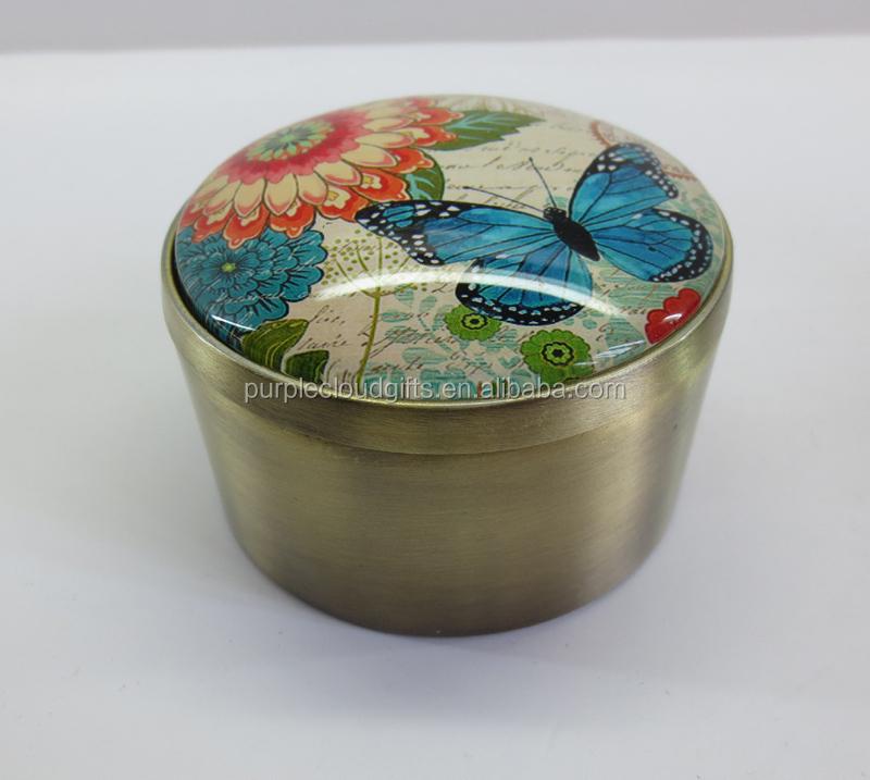 Caja de joyería de fabricación, Mariposa caja de joyas antiguas, Caja de la baratija del metal de cristal