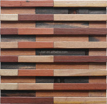 Interior decoration 3d Industrial reclaimed wood furniture Fashionable and Luxury Old Boat Wood Mosaic Tile