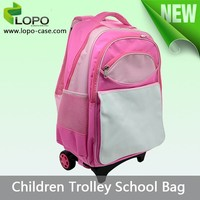 fashion style pink/blue color good quality sublimated school trolley bag