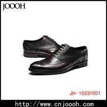 Ostrich Print Leather Men Shoe Black And Tan Color