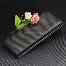 Long genuine leather unisex travel wallet real carbon fiber purse ladies