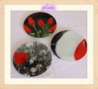 13-16 inch Wedding and Hotel Decorative Round Shape color Stained Beaded Glass Charger Plate