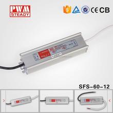 High quality EMC LVD ac dc 110v 220v 12v ip67 waterproof led neon power supply 12v 5a 60w, constant voltage led driver 12v 60w